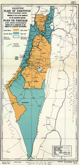 Map of UN Partition Plan for Palestine, adopted 29 Nov 1947. (Source: UNISPAL)