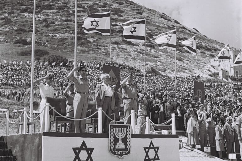 Independence Day 1953 Israeli Prime Minister David Ben-Gurion on the grandstand during the parade in Haifa. (Photo: Hans Pinn/GPO)