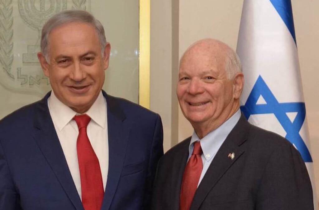 Maryland Senator Ben Cardin posing with Israeli Prime Minister Benjamin Netanyahu in Jerusalem during a visit in March 2016. (Courtesy of U.S. Senate)