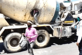 Indian migrant laborers climbing out of a cement mixer they hid in to travel during the coronavirus lockdown. (Photo: Twitter)