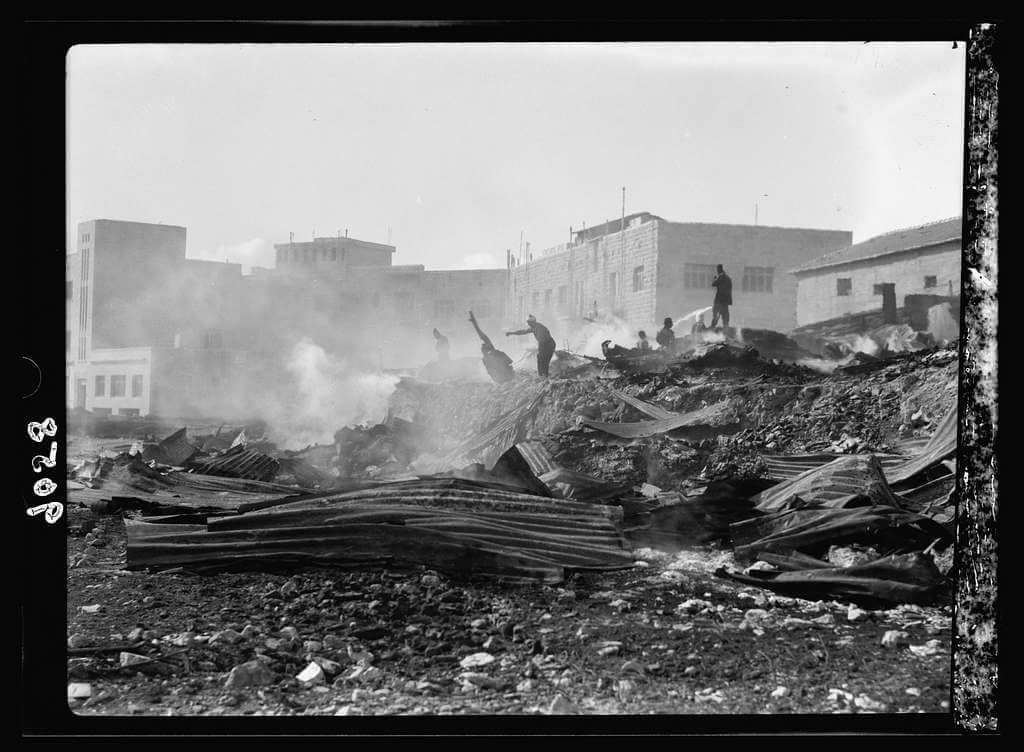 Palestine disturbances 1936. Incendiary of a Jewish lumber yard in the Shamma's Qt. i.e., Quarter.  G. Eric and Edith Matson Photograph Collection. The Library of Congress. (Photo: PICRYL)