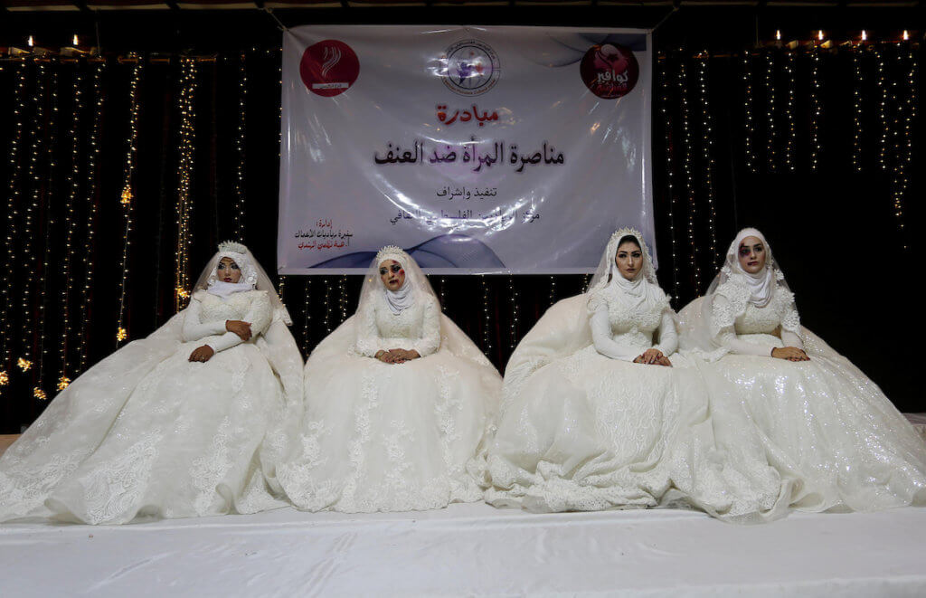 Palestinian women take part an event against violence towards women in Gaza City on October 10, 2019. (Photo: Ashraf Amra/APA Images)