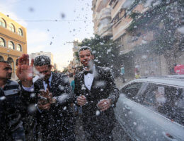 Palestinians enjoy a wedding ceremony amid relaxation of lockdown restrictions in Khan Younis in the southern of Gaza strip on June 11, 2020. (Photo: Ashraf Amra/APA Images)
