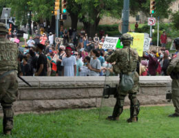 Military police soldiers attached to the Texas Army National Guard support local law enforcement during a protest in Austin, Texas, on May 31, 2020. (Photo: U.S. Army photo by Charles E. Spirtos)