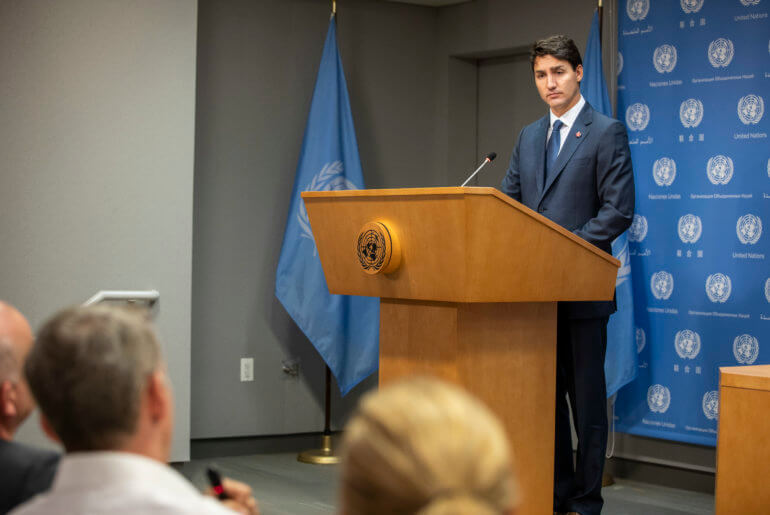 Justin Trudeau, Prime Minister of Canada, briefs press on the sidelines of the annual general debate of the General Assembly at UN Headquarters in New York City, September 26, 2018. (Photo: Laura Jarriel/UN Photo)