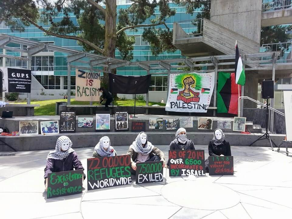 Students protest the San Francisco Statue University administration's decision to bar the General Union of Palestine Students, or GUPS, from erecting a mock apartheid wall on campus, May 14, 2015. (Photo: Rabab Abdulhadi)