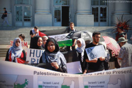 Members of UC Berkeley's Students for Justice in Palestine on Sproul Plaza. (Photo: UC Berkeley SJP/Al Shabaka)