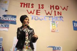 U.S. Congresswoman Ilhan Omar speaking with supporters of U.S. Senator Bernie Sanders in Las Vegas, Nevada, February 2020. (Photo: Gage Skidmore)