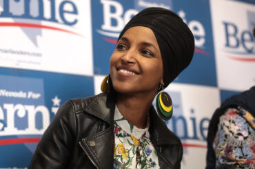 U.S. Congresswoman Ilhan Omar speaking with supporters of U.S. Senator Bernie Sanders in Las Vegas, Nevada, February 2020. (Photo: Gage Skidmore)