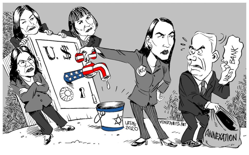 Cutting off the US aid spigot over annexation. (Cartoon: Carlos Latuff)