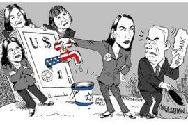 Cutting off the US aid spigot over annexation. (Cartoon: Carlos Latuff)