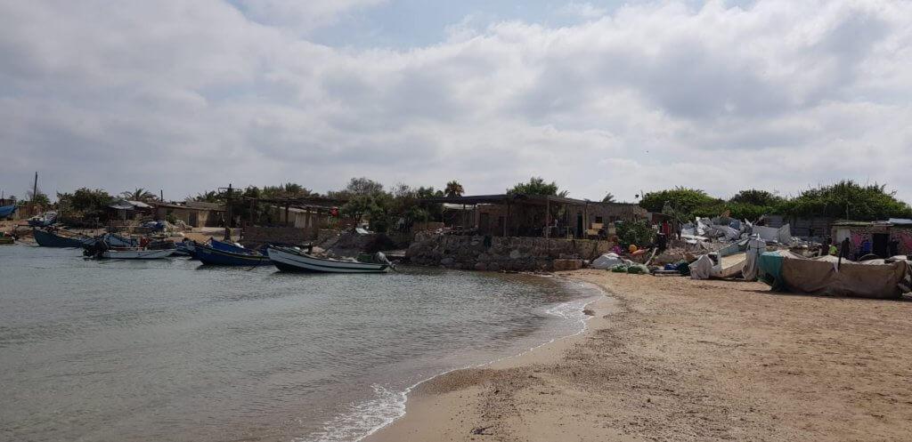 Ali Jurban's demolished fishing shack (center left) on the edge of the Mediterranean Sea in Jisr al-Zarqa (Photo: Naim Mousa)