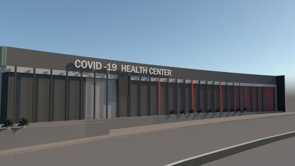 Mockups for the COVID-19 testing clinic in Hebron. (Photo courtesy of Raed Maswadeh)