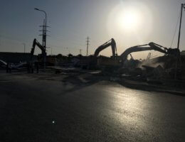 Israeli bulldozers and excavators demolishing the COVID-19 testing clinic on Tuesday morning (Photo courtesy of Raed Maswadeh)