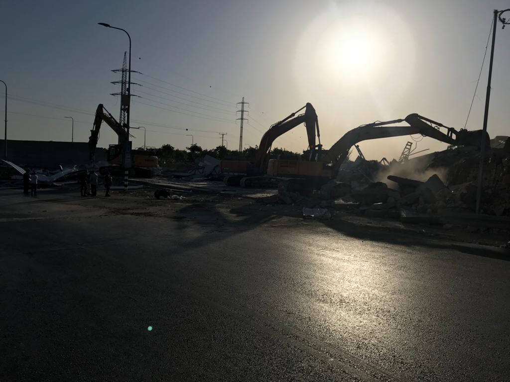 Israeli bulldozers and excavators demolishing the COVID-19 testing clinic on Tuesday morning (Photo courtesy of Raed Maswadeh)