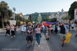 Palestinians from Al Qaws and other queer or feminist organizations hold an LGBTQ demonstration in Haifa on July 29, 2020. (Photo: Angelique Abboud/Al Qaws/Facebook)