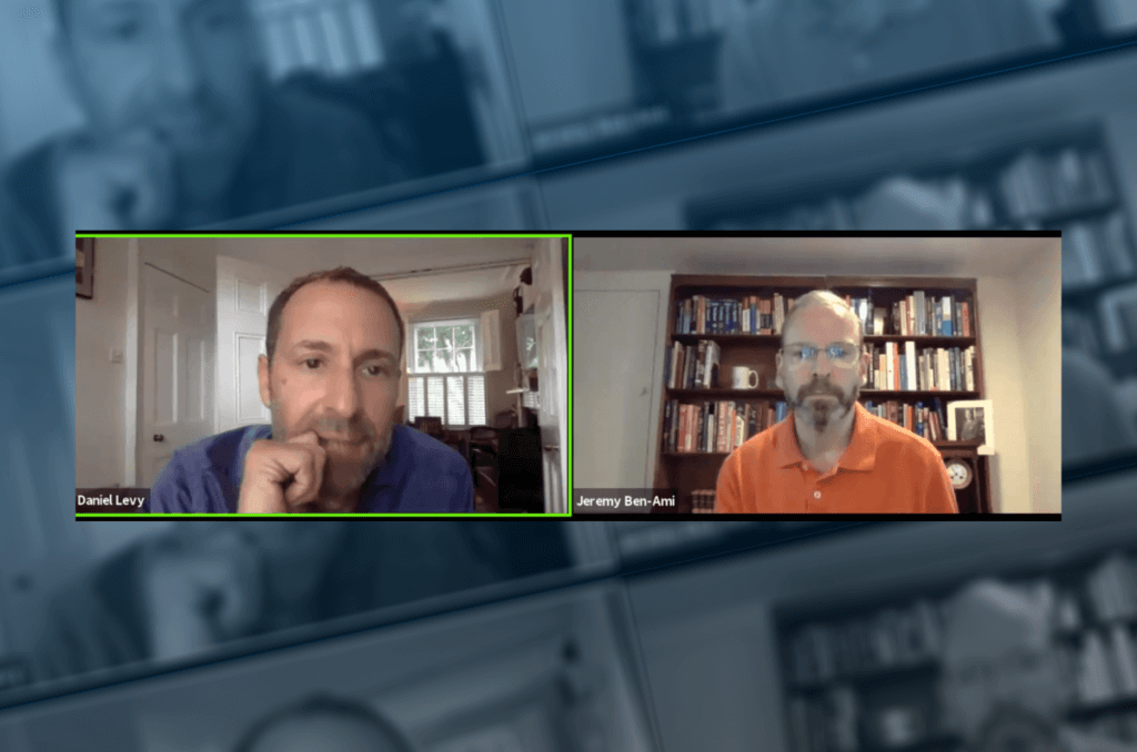 Daniel Levy and Jeremy Ben-Ami on J Street Zoom call, July 2, 2020. Screenshot.
