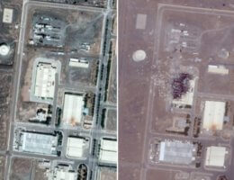 Satellite images of Natanz nuclear plant. Pics: Google (before) and Iran International (after) (Images via Sky News)