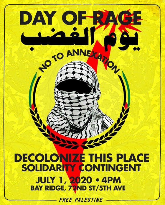 Poster created by Decolonize This Place (NYC) (Image via Palestine Poster Project Archives)