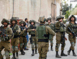 Israeli forces on patrol near the West Bank city of Jenin in May 2020. (Photo: Oday Daibes/APA Images)