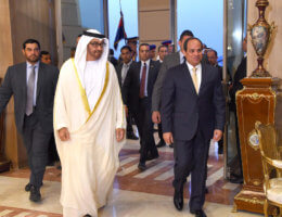 Sheikh Mohammed bin Zayed al-Nahyan, Crown Prince of Abu Dhabi, negotiated the deal normalizing relations with Israel, seen walking in the Cairo with Egyptian President Abdel Fattah al-Sisi in April 21, 2016. (Photo: Egyptian President Office)