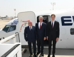 Israeli National Security Advisor Meir Ben-Shabbat, US National Security Advisor Robert O'Brien, and Jared Kushner before they boarded the El Al flight to Abu Dhabi. (Photo: Amos Ben-Gershom, GPO)