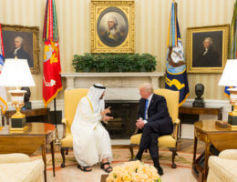 Donald Trump meets with Sheikh Mohamed bin Zayed, Crown Prince of Abu Dhabi, in the Oval Office of the White House, Monday, May 15, 2017. (Official White House Photo by Shealah Craighead)