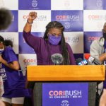 Missouri Democratic congressional candidate Cori Bush gives her victory speech at her campaign office on August 4, 2020 in St. Louis, Missouri. Bush, an activist backed by the progressive group Justice Democrats, defeated 10-term incumbent Rep. William Lacy Clay (D-MO) in Tuesday's primary election to become the first black woman elected to represent the state of Missouri in congress. (Photo: Michael B. Thomas/Getty Images)