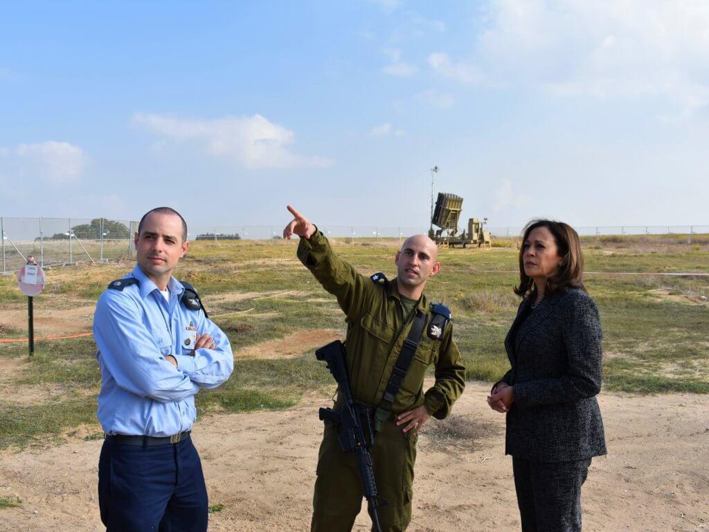 Senator Kamala Harris visits an Iron Dome missile defense battery in Israel, November 2017. (Photo: Office of Kamala Harris)