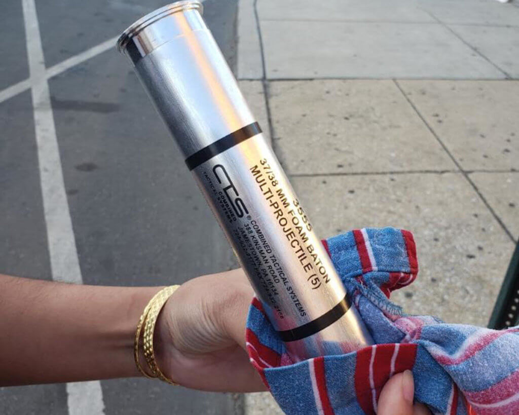 A Combined Tactical Systems teargas canister that was used in Philadelphia during Black Lives Matter protests in June 2020 (Photo: Munira Lokhandwala)