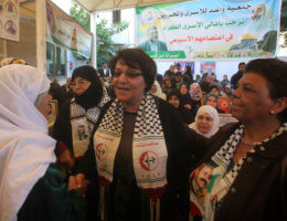 Leila Khaled participates in a demonstration at the headquarters for the International Committee for the Red Cross in Gaza City on December 10, 2012. (Photo: Ashraf Amra/APA Images)