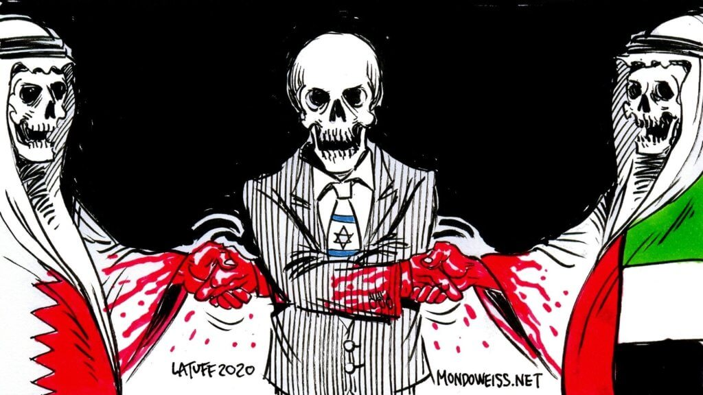 Israeli normalization with blood on their hands, by Carlos Latuff