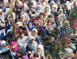 Demonstration during the first intifada. (Image Courtesy of Mahfouz Abu Turk and Just Vision)