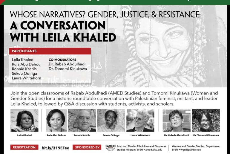 """Flyer for the event, """"Whose Narratives? Gender, Justice & Resistance: A conversation with Leila Khaled"""""""