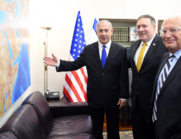 David Friedman with Israeli Prime Minster Benjamin Netanyahu and U.S. Secretary of State Mike Pompeo during a visit by Pompeo to Israel in April 2018. (Photo: U.S. Embassy Jerusalem)