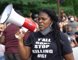 Congressional candidate Cori Bush speaking at a rally against police violence in July 2020 (Photo: Craig Currie/Wikimedia)