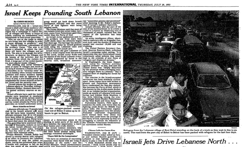 "New York Times coverage of ""Operation Accountability,"" a week-long Israeli attack on Lebanon in July 1993"