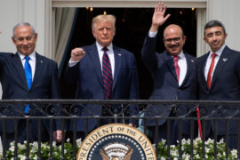 (L-R)Israeli Prime Minister Benjamin Netanyahu, US President Donald Trump, Bahrain Foreign Minister Abdullatif al-Zayani, and UAE Foreign Minister Abdullah bin Zayed Al-Nahyan wave from the Truman Balcony at the White House after they participated in the signing of the Abraham Accords where the countries of Bahrain and the United Arab Emirates recognize Israel, in Washington, DC, September 15, 2020. (Photo: SAUL LOEB/AFP via Getty Images)