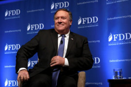 Then CIA Director Mike Pompeo arrives at the FDD National Security Summit in Washington, U.S., October 19, 2017. (Photo: REUTERS/Yuri Gripas)