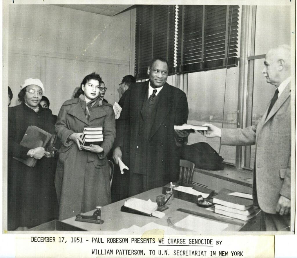 """Paul Robeson presents """"We Charge Genocide"""" to the UN Secretariat in New York, December 1951"""