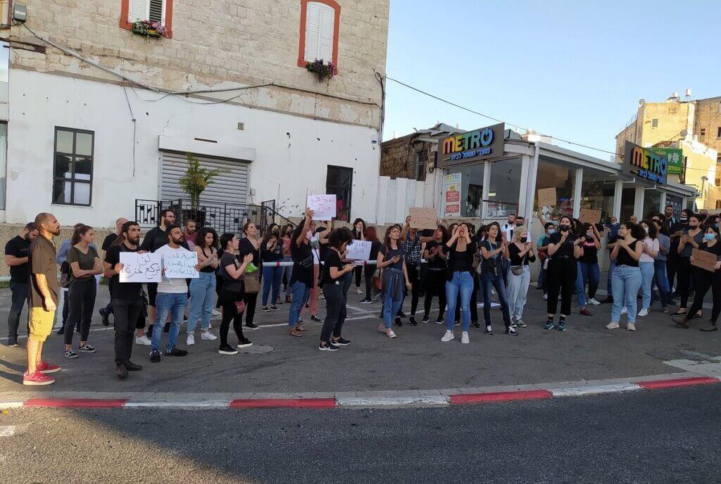 Tal'at demo in Habibi circle, Haifa, May 15, 2021 (Photo: Yoav Haifawi)