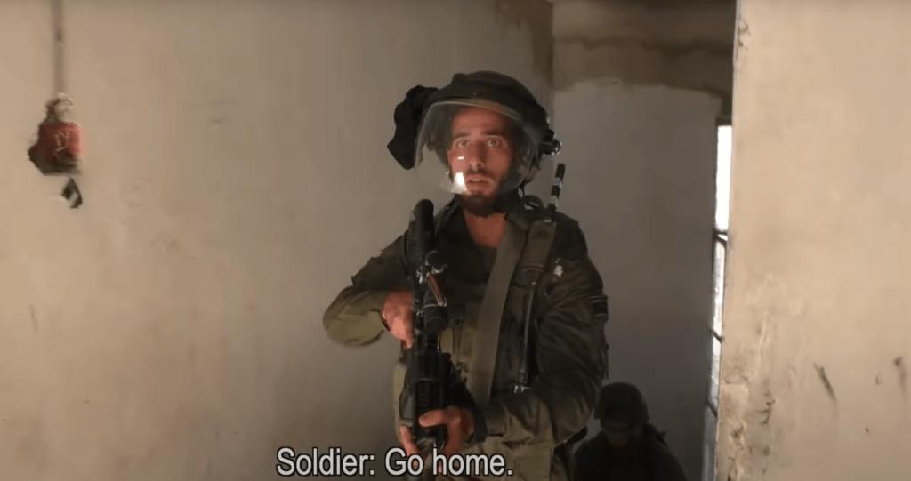 Screenshot of B'Tselem video of Israeli raid on Palestinian home in Hebron, May 13, 2021.
