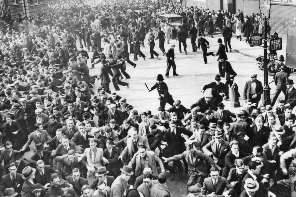 Riots erupted between anti-Fascists and Blackshirts (British Fascists) when Mosley's supporters were gathering in Great Mint Street for a march through the East End of London in what is now called the Battle of Cable Street on Oct. 4, 1936. ullstein bild via Getty Images